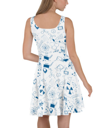 Sci White and Blue Skater Dress